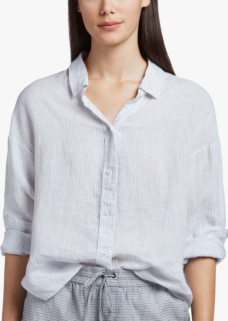 James Perse STRIPED LINEN CLASSIC SHIRT