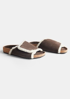James Perse SUEDE SHEARLING SLIDE - WOMENS