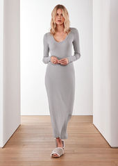 James Perse TECHNICAL JERSEY RIBBED V-NECK DRESS