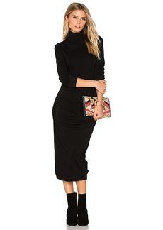 James Perse Turtleneck Midi Dress in Black. - size 0 (XXS/XS) (also in 1 (XS/S),2 (S/M))