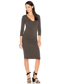 James Perse V Neck Skinny Dress in Charcoal. - size 0 (XXS/XS) (also in 1 (XS/S),2 (S/M))