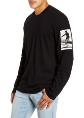 James Perse Wave Graphic Long Sleeve T-Shirt