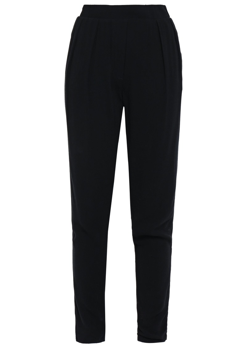 James Perse Woman Cropped Crepe Tapered Pants Black