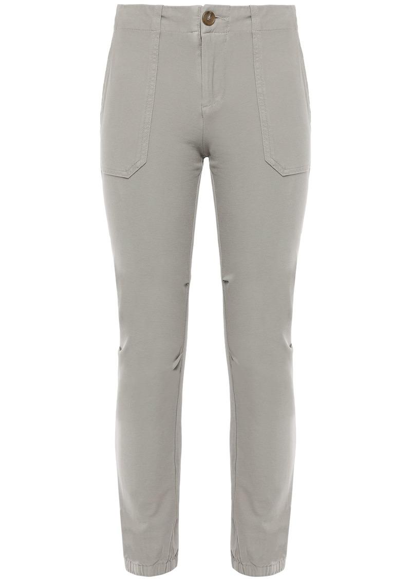 James Perse Woman Cropped Stretch Cotton-twill Slim-leg Pants Gray