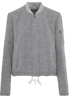 James Perse Woman Linen Bomber Jacket Gray