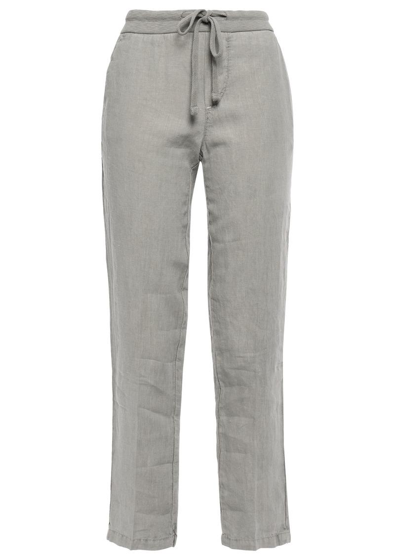James Perse Woman Linen Cropped Slim-leg Pants Stone
