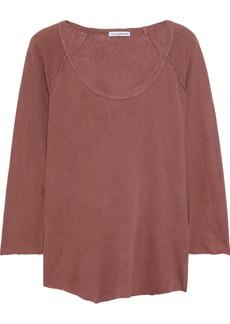 James Perse Woman Slub Linen And Cotton-blend Jersey Top Brick