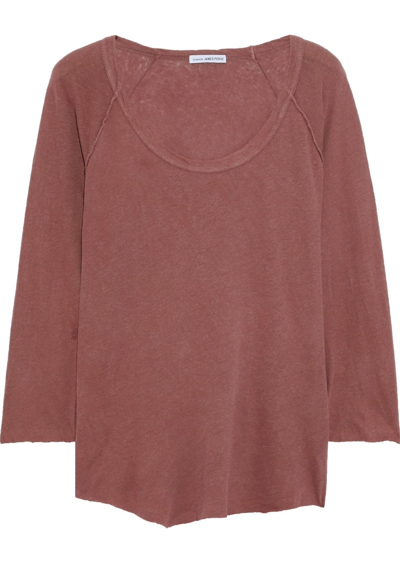 James Perse Woman Slub Linen And Cotton-blend Jersey Top Brick