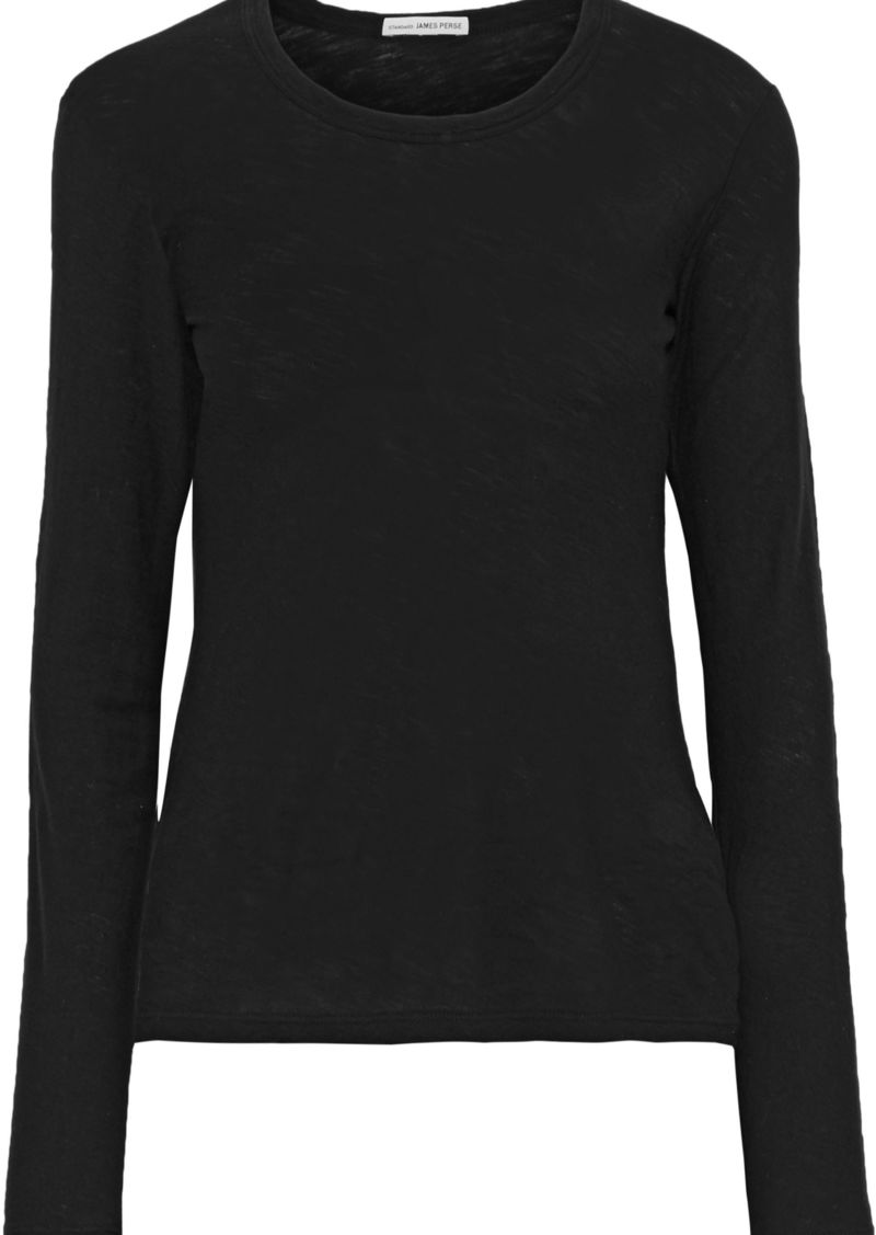 James Perse Woman Slub Cotton-jersey Top Black