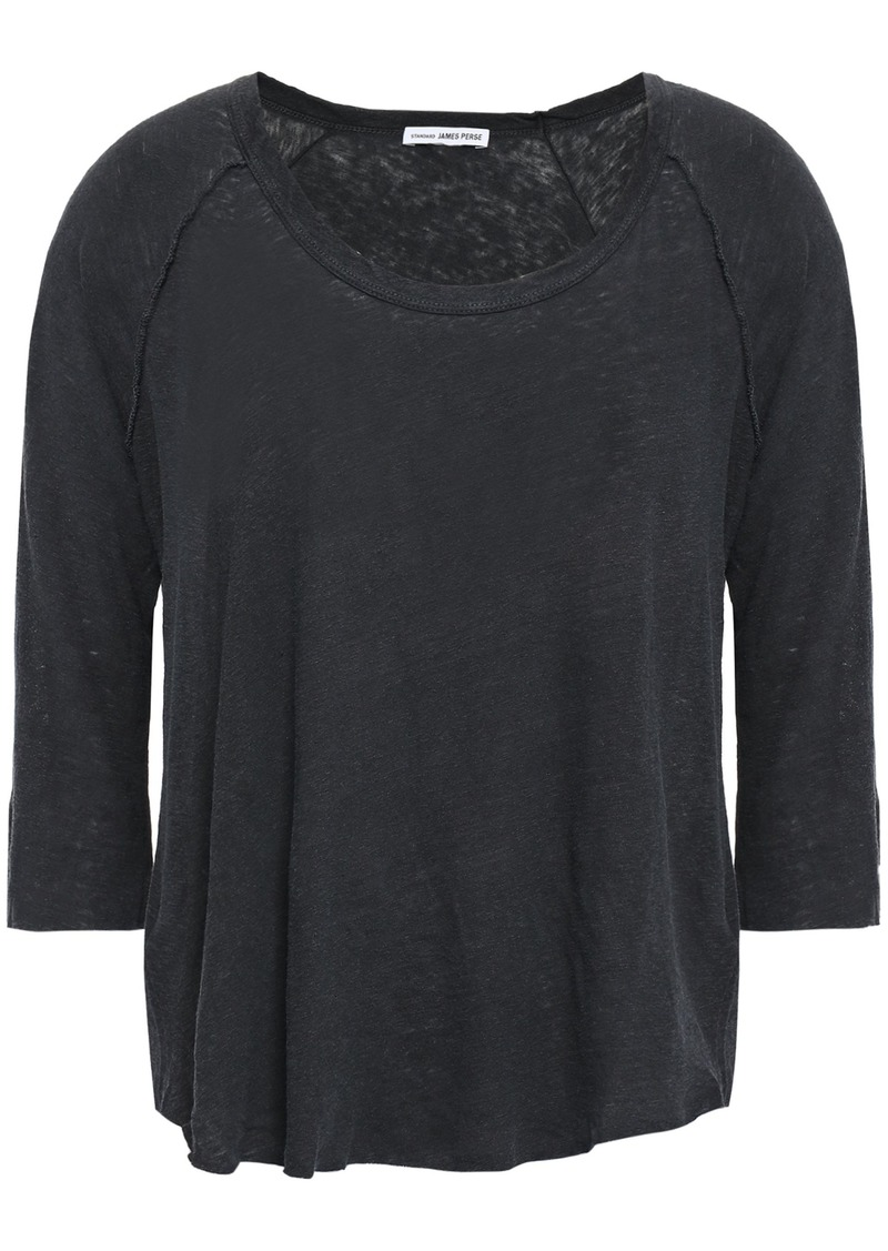 James Perse Woman Slub Linen And Cotton-blend Jersey Top Charcoal