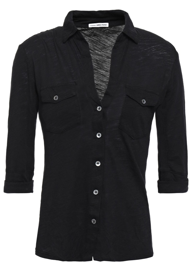 James Perse Woman Slub Supima Cotton-jersey Shirt Black