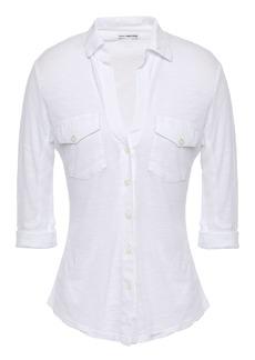 James Perse Woman Slub Supima Cotton-jersey Shirt White
