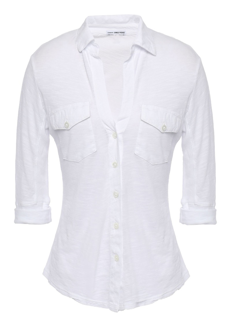 James Perse Woman Slub Supima Cotton-jersey Shirt White