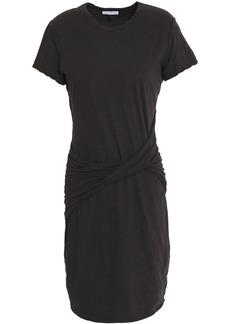 James Perse Woman Twisted Cotton-blend Jersey Dress Charcoal