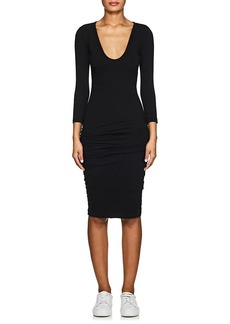 James Perse Women's Ruched Stretch-Cotton Fitted Dress