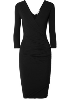 James Perse Wrap-effect ruched cotton-blend jersey dress