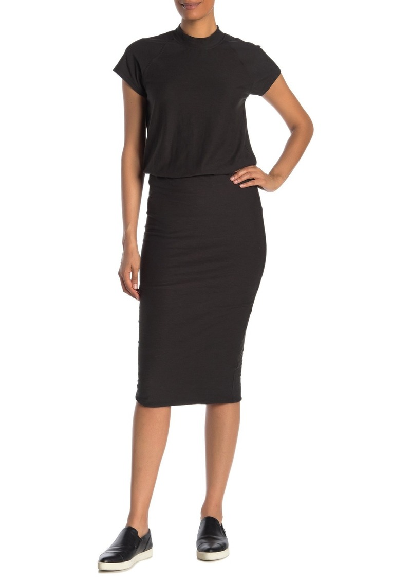 James Perse Mock Neck Blouson Midi Dress