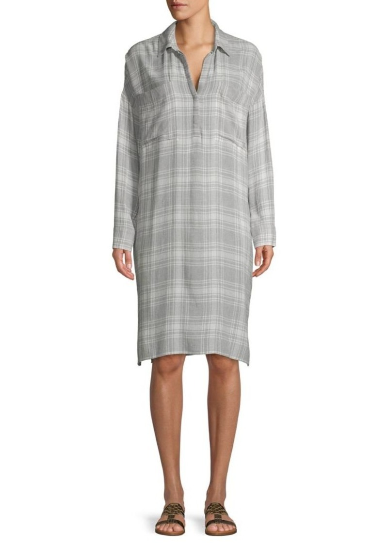 James Perse Plaid-Print Long-Sleeve Shirtdress