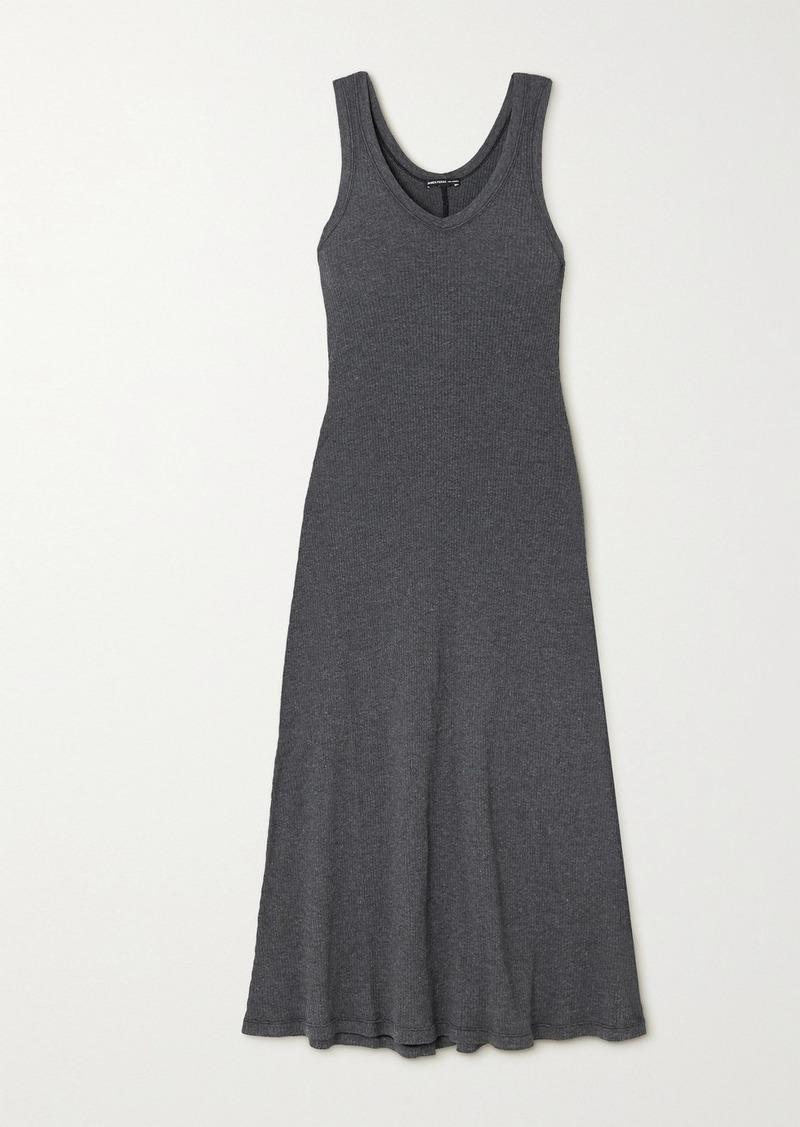 James Perse Ribbed Cotton-blend Jersey Midi Dress