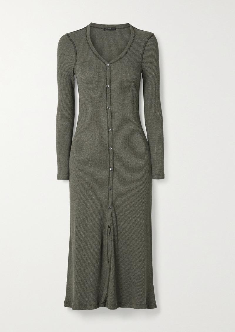 James Perse Ribbed Cotton-blend Midi Dress