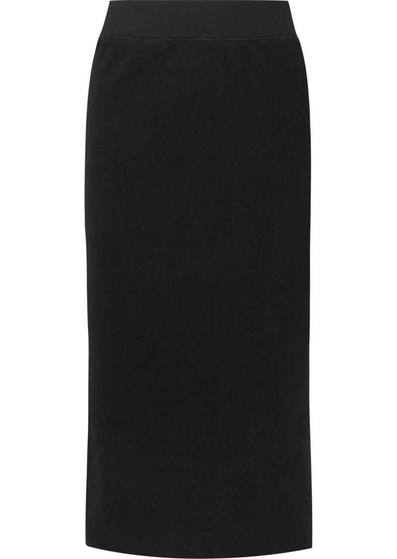 James Perse Ribbed Stretch Cotton-blend Midi Skirt