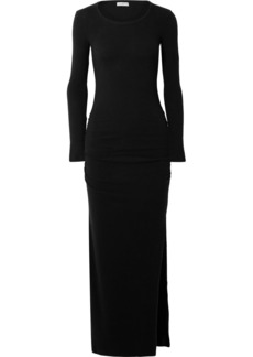 James Perse Ruched Brushed Cotton-blend Jersey Maxi Dress