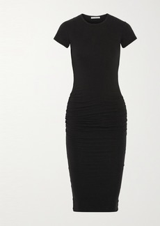 James Perse Ruched Stretch-cotton Jersey Dress
