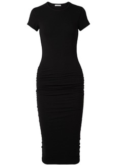 James Perse Ruched Stretch-cotton Midi Jersey Dress
