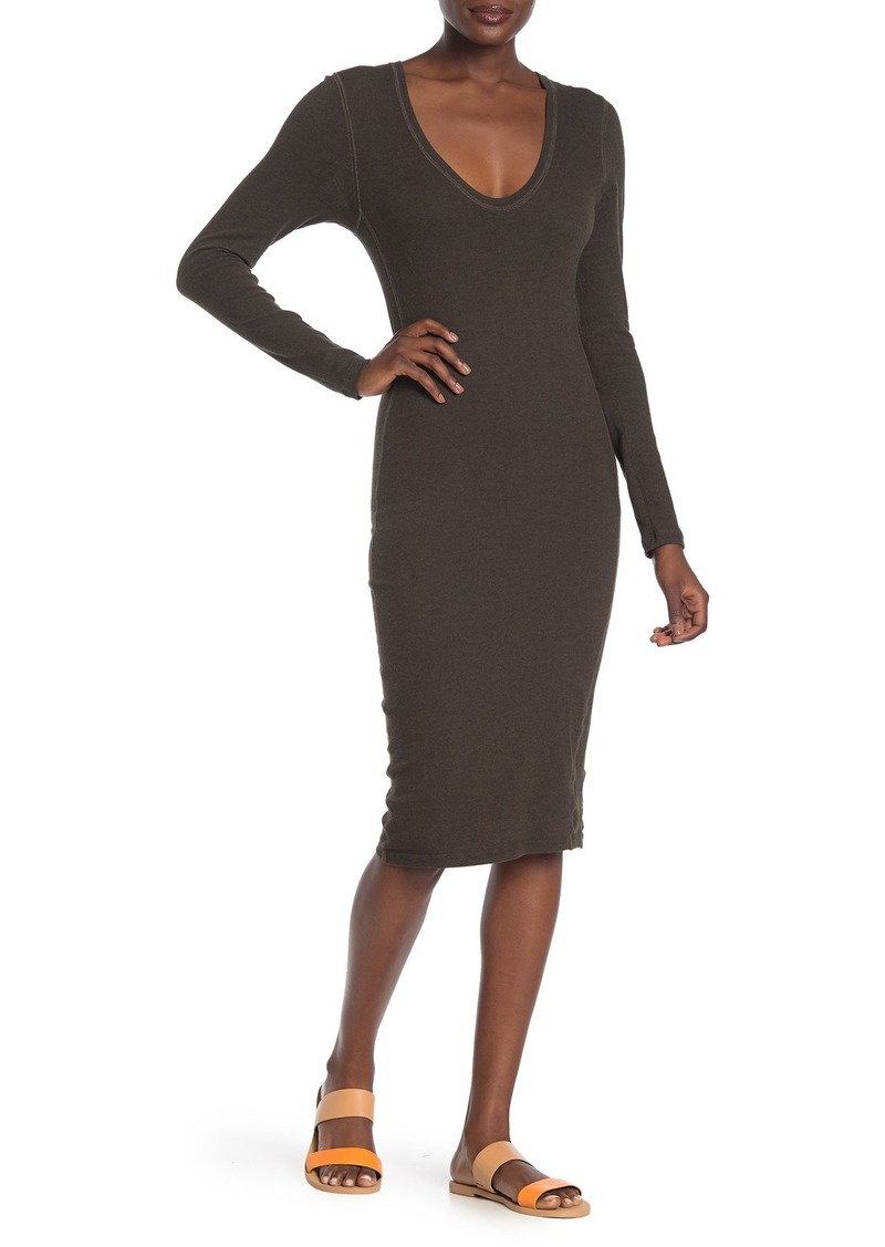 James Perse Scoop Neck Fleece Midi Dress