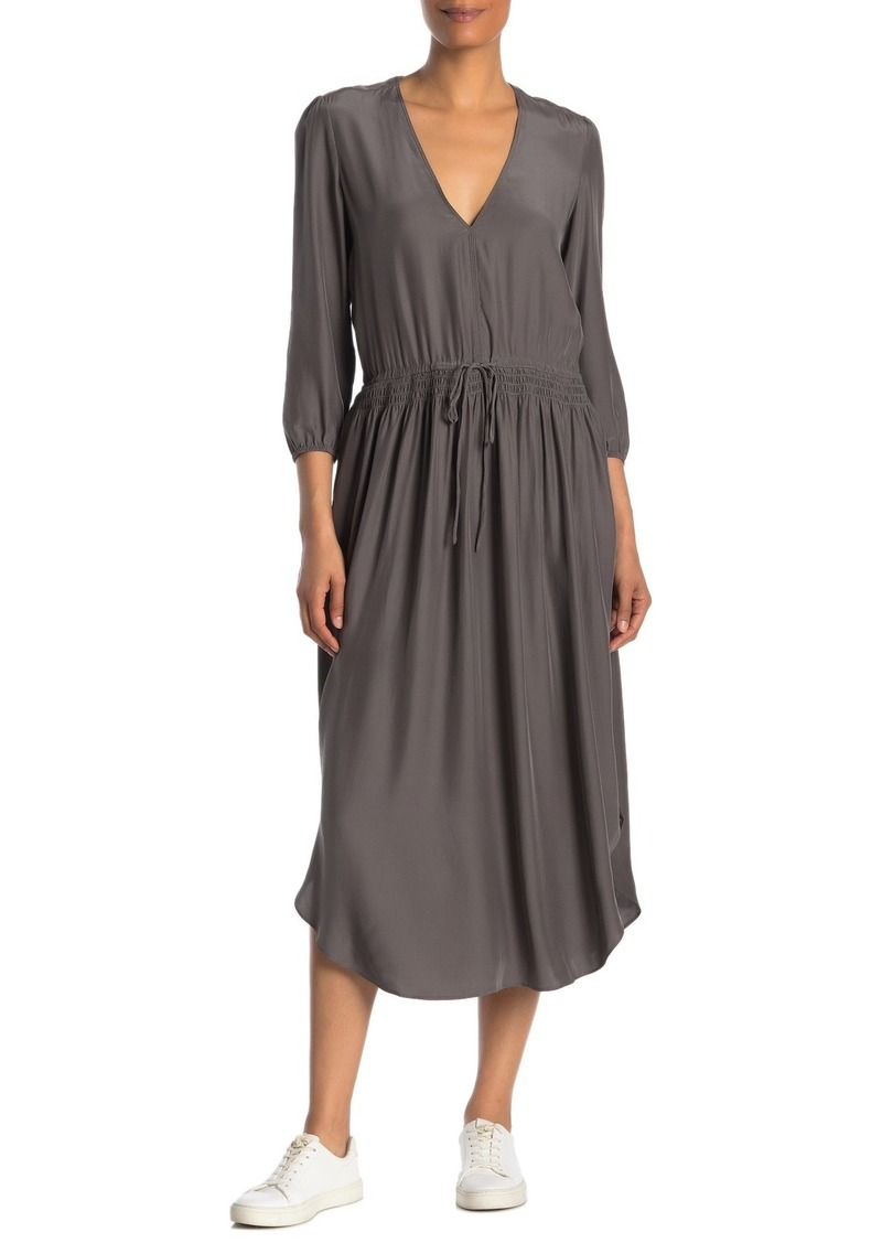 James Perse Silk 3/4 Sleeve Midi Dress