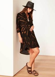 James Perse Spiral Dye Linen Shirt Dress - Black Bleach