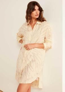 James Perse Spiral Dye Linen Shirt Dress - Driftwood Bleach