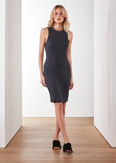 James Perse Technical Jersey Ribbed Tank Dress - Blue Black