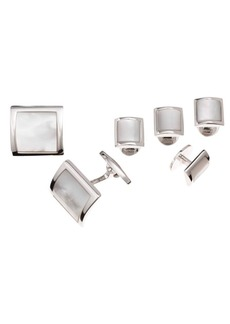 Jan Leslie 6-Piece Sterling Silver & Mother-Of-Pearl Square Cufflink Set