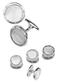 Jan Leslie 6-Piece Sterling Silver & Round Mother-Of-Pearl Cufflink & Shirt Stud Set