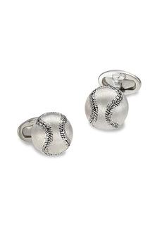 Jan Leslie Brushed Sterling Silver Baseball Cufflinks