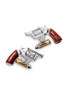Jan Leslie Handmade Sterling Silver, 24K Vermeil & Wood Revolver Cufflinks