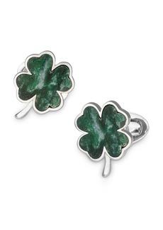 Jan Leslie Sterling Silver & Green Onyx Four-Leaf Clover Cufflinks