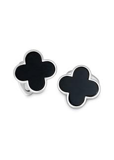 Jan Leslie Sterling Silver and Black Onyx Clover Cufflinks