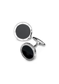 Jan Leslie Sterling Silver and Black Onyx Rivet Detail Cufflinks