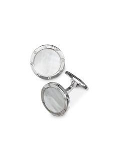 Jan Leslie Sterling Silver and Mother-of-Pearl Rivet Detail Cufflinks