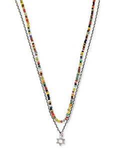 """Jan Leslie Sterling Silver Star of David Charm and African Stone Beaded Necklace, 28"""""""