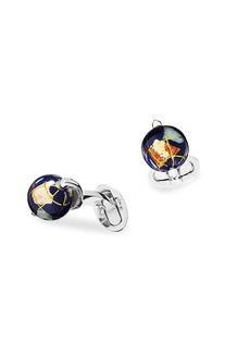 Jan Leslie Sterling Silver & Articulated Spinning Lapis Globe Cufflinks