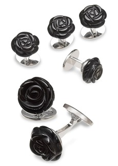 Jan Leslie Sterling Silver & Onyx Carved Rose Cufflinks & Four Tuxedo Studs