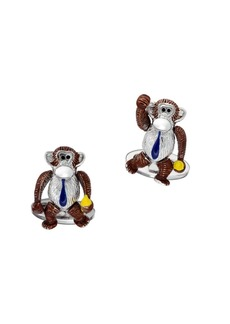 Jan Leslie Sterling Silver Moving Monkey Cufflinks