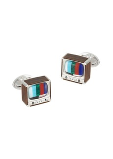 Jan Leslie Sterling Silver, Wood & Multi-Stone TV Box Cufflinks