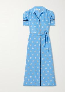 Jason Wu Belted Floral-print Silk Crepe De Chine Midi Shirt Dress