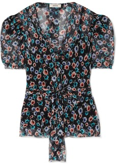 Jason Wu Belted Floral-print Silk-georgette Blouse