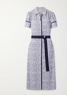 Jason Wu Belted Printed Crepe Midi Shirt Dress