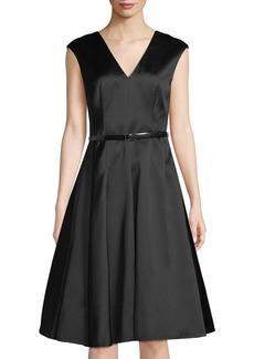 Jason Wu Belted Satin Twill Cap-Sleeve A-line Dress